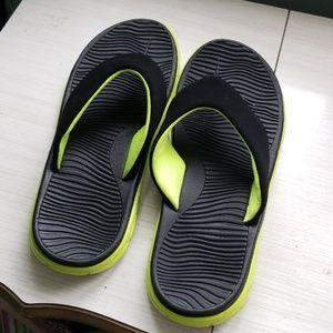 Mens neon green flip flops